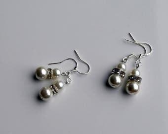 brides earrings, Pearl diamante earrings, Bridal Pearl Earrings, Diamante and pearl earrings, Pearl drop earrings,  pearl Bridal jewellery