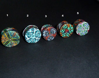 Plug, Ear Plug, Psychedelic Pattern, Psychedelic Plugs, Tunnel, Stretched Ear, Fimo Plugs, detailled patterns, Goa Plugs, Festival