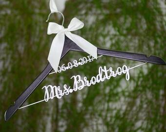 Clothing Gift, Personalized Wedding hanger, Bridal Hanger, Hanger with Date, Two Line Hanger, Bride Hanger, Wedding Shower Gift vet0010