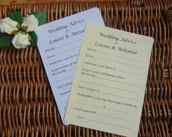 Wedding Advice Cards, 10 wedding advice cards, wedding tags, Advice card, Wedding Day, Wedding advice cards. Bridal shower