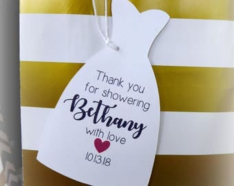 Bridal Shower Tags, Shower Thank You, Favor Tags, Bride Gown Tags, Personalized Tags, Bride-To-Be Tags, Gift Tags, Set of 24