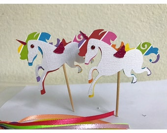 Unicorn Cupcake toppers, Unicorn themed birthday party, Rainbow Party decoration