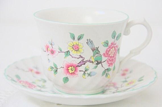 Vintage James Kent Old Foley Cup and Saucer, Chinese Rose Design, England