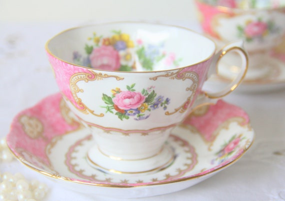 Vintage Royal Albert 'Lady Carlyle' Large Cup and Saucer, Pink Multicolored Flower Design, England