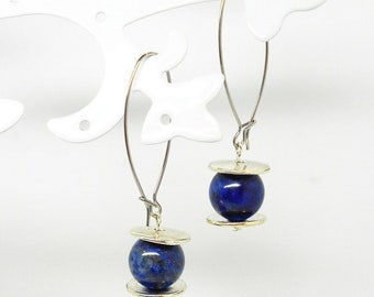Earrings stainless steel wire with lapis lazuli beads