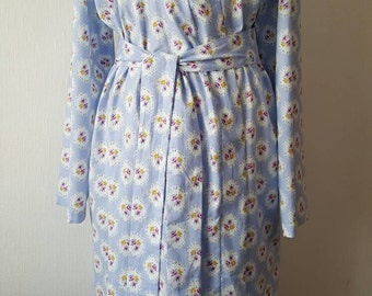 Pale blue floral robe,vintage print cotton bathrobe,dressing gown,gift for her,cotton wrapover robe,lightweight cotton bathrobe, kimomo robe