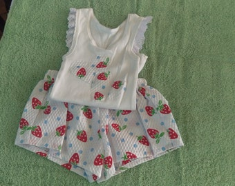 Short set - Strawberry pattern - size 1