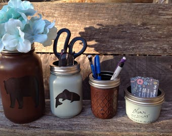 Bear Mason Jar Desk Set-fish Desk Set-Mason Jar Office-Desk Organizer-Desk Set-Mason Jar Office Set-Office Set-Desk Decor--cabin decor