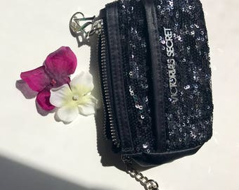 Victoria secret sequence key chain  and coin purse black