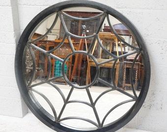"""Vintage Circular """"Spiderweb"""" Wall Hanging Mirror"""