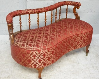 Vintage Walnut & Upholstered Serpentine Settee