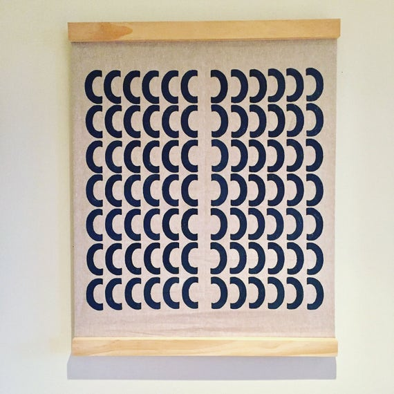 Modern retro wall art-handmade contemporary printed textile wall hanging
