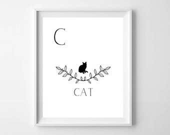 C is for Cat Nursery Printable - Cat Nursery Print - Alphabet Nursery print - ABC wall art print - Modern Nursery Decor - Kids room decor