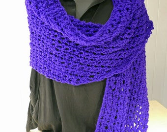 Purple shawl, scarf knitted for woman. 50% off