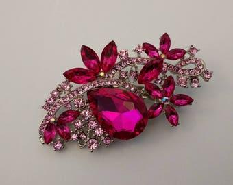 Large Hot pink Brooch....Flower Brooch..UK