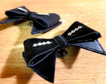 Vintage Shoe Clips - Rococo Bows with Rhinestones, Black ribbon, Lolita style, Art Deco, Retro 50s, Victorian