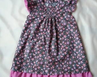 Summer dress for girls in dress color/satin flowers/ roses/satin flowered dress at 80-86 cm