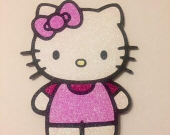 Hello Kitty glitter cardstock cake topper