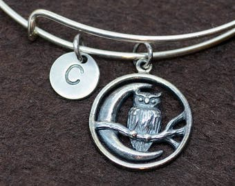 Sterling Silver Owl bangle with initial, initial bangle, sterling silver bangle, owl bangle