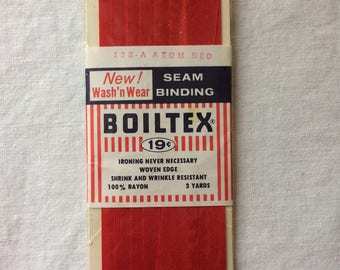 "Vintage New Atom Red Seam Binding Trim 1/2"" wide x 3 yards long by Boiltex 100% Rayon"