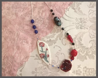 no.121 Mixed Porcelain and Bead Statement Necklace on Sterling Silver chain