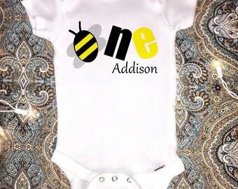 1st Birthday Onesie, Baby Girls First Birthday Onesie, Bee Birthday Outfit