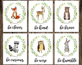 Woodland Animal Nursery Decor | Fox Deer Raccoon Owl Bunny Rabbit Bear | Woodland Creatures Be Brave Be Kind Be Curious Be Clever | Wall Art