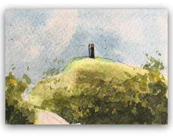 "Landscape painting ORIGINAL Miniature Watercolour Painting ""Glastonbury Tor"" ACEO Glastonbury Tor countryside Home Decor Gift Idea Wall Art"