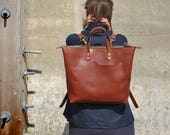 Brown Leather Backpack Italian Leather backpack Leather Laptop Bag Leather Rucksack Unisex Backpack Brown Bag Leather Zipper Backpack