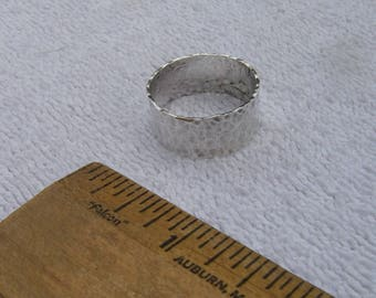 Vintage HAND HAMMERED Sterling Band Ring 3/8 Inch Wide-Size 9.5