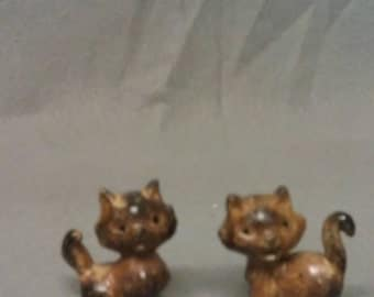 Tan and Grey Brown Cat Figurines Set.of 2