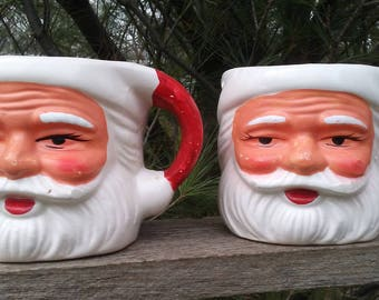 2 Winking Santa mugs Vintage Christmas ceramic cup kitsch decoration collectible