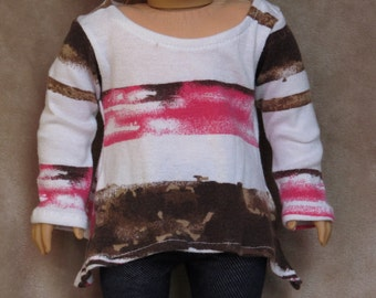 White Flowy Sweater with Pink and Brown Stripes ~ Handmade to fit like American Girl Doll Clothes, 18 inch doll clothes