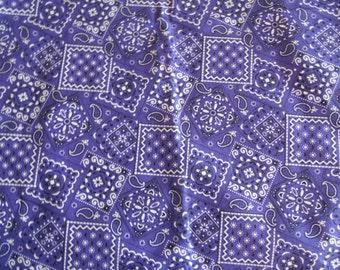 Purple Bandana cotton fabric by the yard