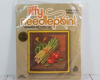 Vintage Jiffy Needlepoint Kit - Asparagus and Tomatoes - Sunset Designs 5206 - Beginning Needlepoint - Vegetables - Garden Harvest - Kitchen