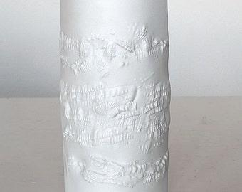 Matt white bisque porcelain vase, fossil relief, Hutschenreuther, 70ties