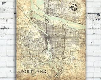 PORTLAND OR Canvas Print Oregon Vintage map Portland Or City Vintage map Wall Art Or Print poster retro old gift home decor neutral art map