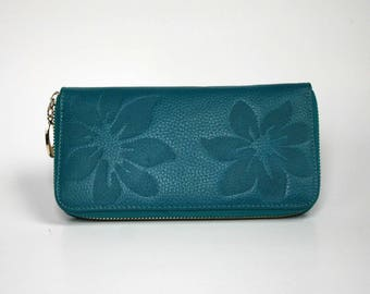 Womens Wallet, Leather Wallet, Blue Wallet,  Blue Purse
