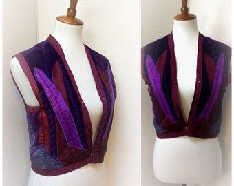 Vintage 70s Velvet Vest Purple Red Satin Embroidered Hippie Vest Handmade Boho Festival Vest Medium Large