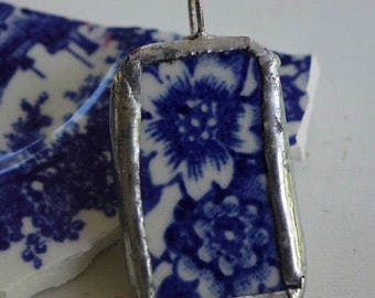 Blue flower pendant- broken china jewelry  - blue and white china pendant - vintage china pendant- upcycled pendant- gift for her