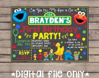 Sesame Street Chalkboard Invitation / Sesame Street Birthday Invitation / Sesame Street Chalkboard Birthday Invitation /Sesame Street Invite