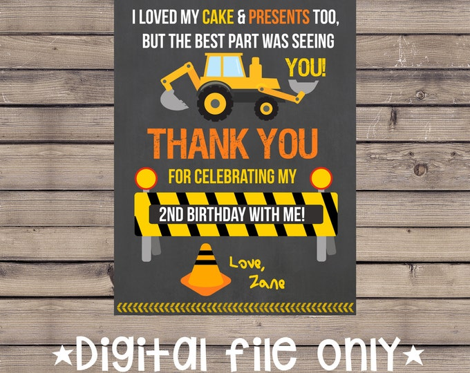 Construction Birthday Thank You / Construction Site Thank You / Construction Thank You card / Construction Site Birthday Thabk You / Digital