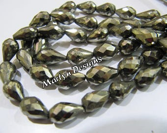 Super Fine Quality Natural Pyrite Drops Beads , Exclusive Pyrite Faceted Teardrop Shape 8x13mm Size Gemstone Beads , Length 8 inches long