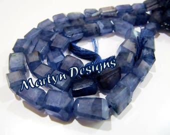 High Quality Genuine Iolite Nagget Shape Beads , Israel Cut Natural Iolite Tumbled Beads , 9 to 13mm Size , Length 10 inches, Gemstone Beads