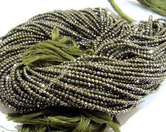 High Quality Natural Pyrite Rondelle Faceted Beads , 2mm Genuine Pyrite Tiny Beads , Strand 13 inch long , Exceptionally Best Quality Beads.
