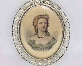 Victorian Portrait of a Woman in a Metal Filigree Frame, Vintage Victorian Picture, Framed Victorian Lady, Oval Framed Victorian Woman