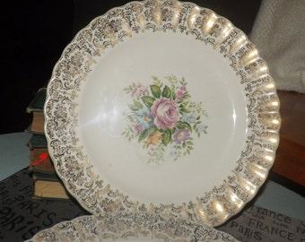 PAIR of mid-century (c.1950s) American Limoges Rosalie dinner plates. 22-k gold filigree, scalloped, fluted edge.
