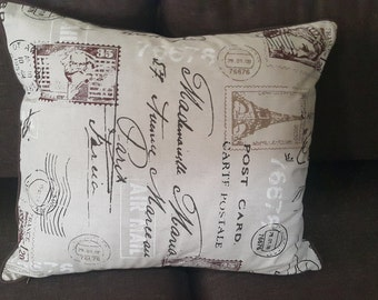 Handmade French Eiffel Tower Pillow Cover