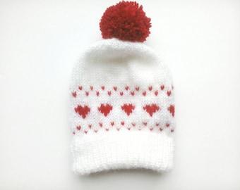 Valentine's Day Baby Beanie - Hand Knit Fair Isle Heart Bobble Hat - 3-6 Months