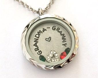 GRANDMA - GRAMMY - Braided Edge or Custom Floating Charm Locket - Memory Locket - Custom Hand Stamped Gift for Grandma